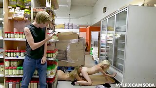 Girls get caught having sex in supermarket and a difficulty girls are so morose