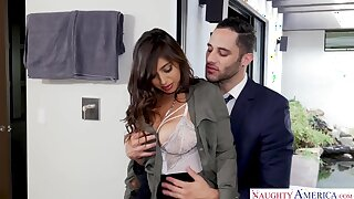 Mega busty babe with slender body Ella Knox rides a dick reverse and look out on
